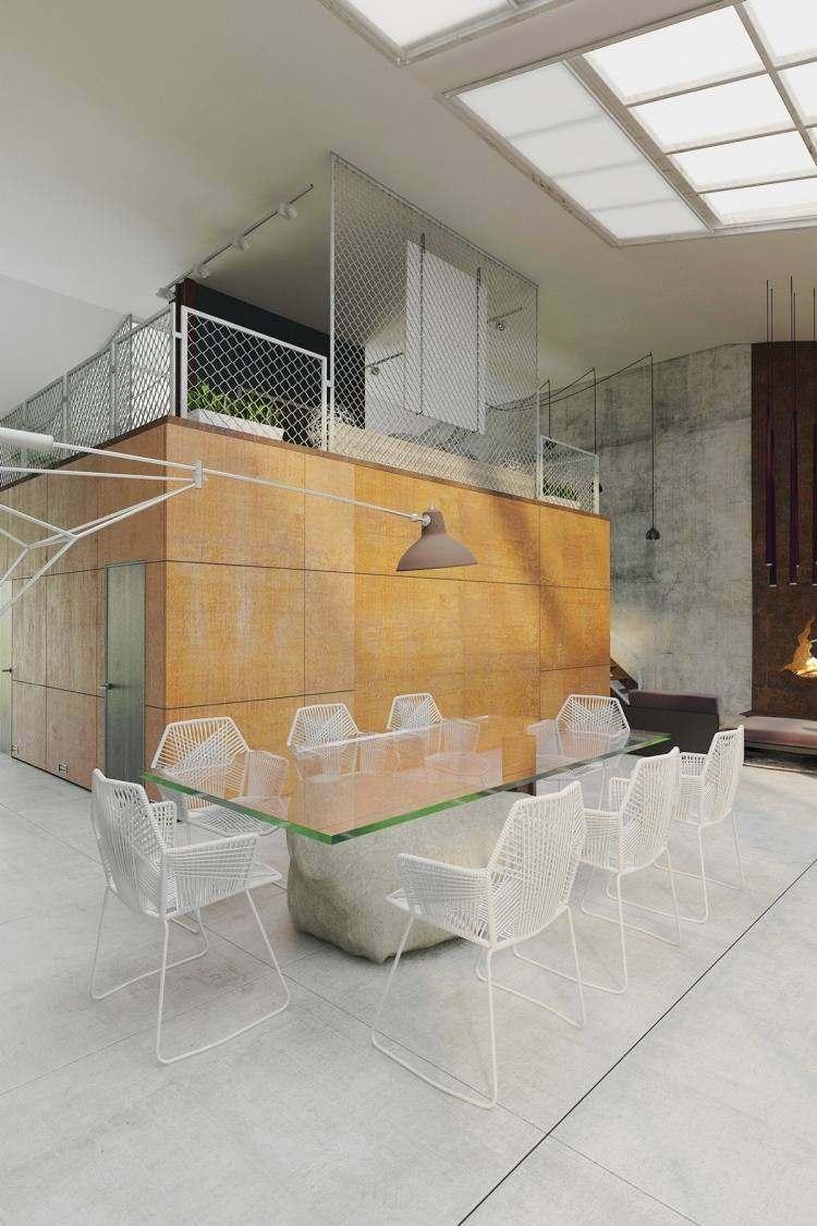 muebles estilo industrial sillas acero blanco ideas