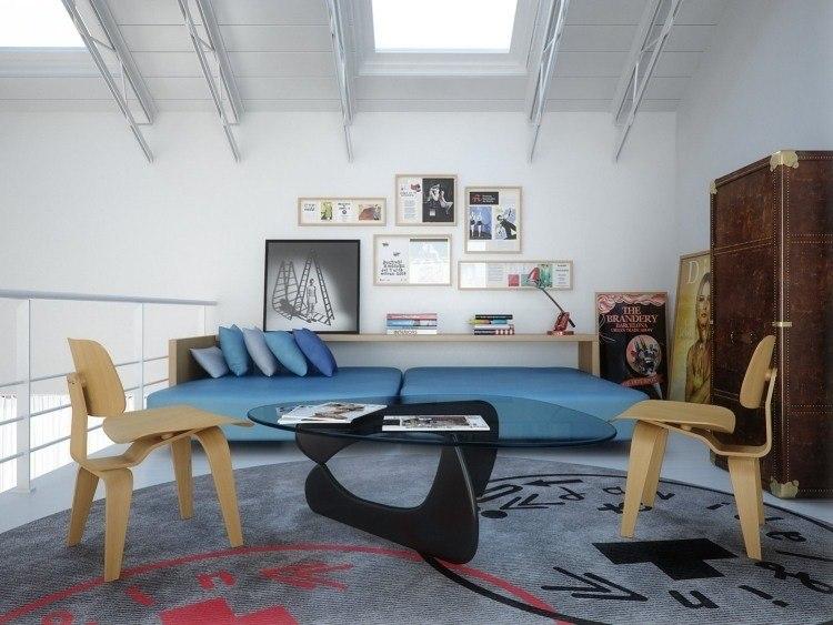 muebles estilo industrial sillas madera mesa cristal ideas