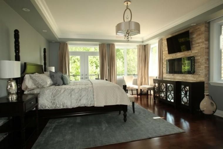 muebles madera sillas blancas chimenea dormitorio ideas