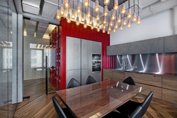 muebles moderno estilo industrial cocina lamparas interesantes ideas