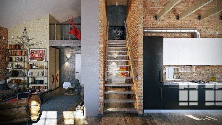 muebles moderno estilo industrial escalera casa ideas
