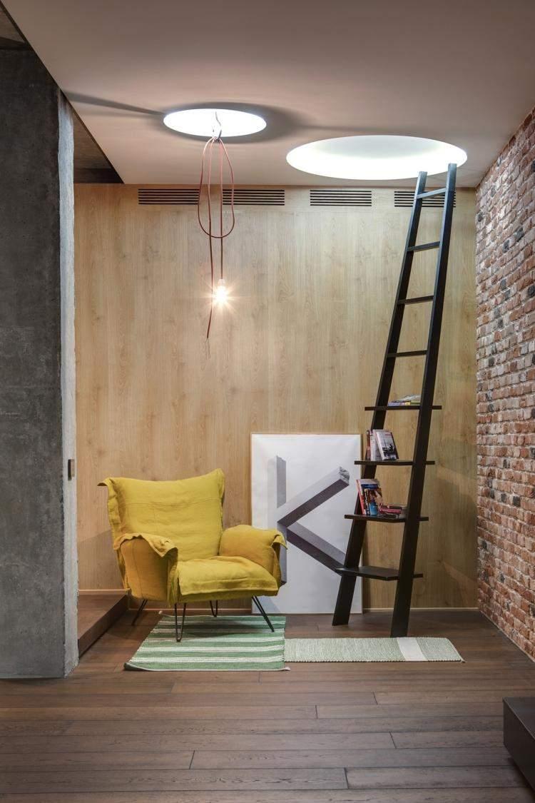 muebles moderno estilo industrial escalera estanteria sillon amarillo ideas