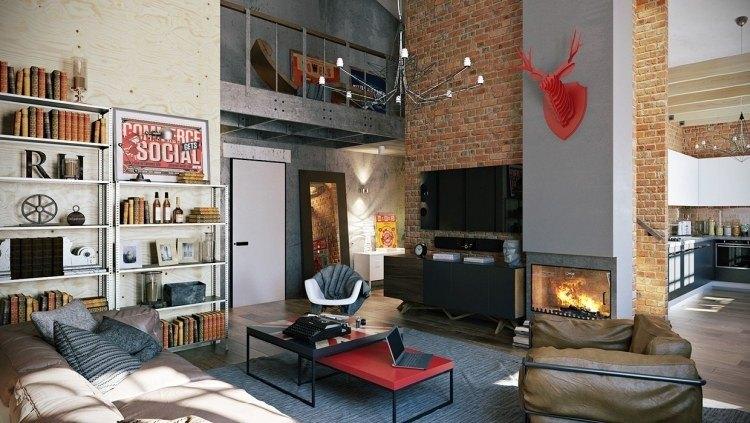 muebles moderno estilo industrial estanterias acero sillon cuero ideas