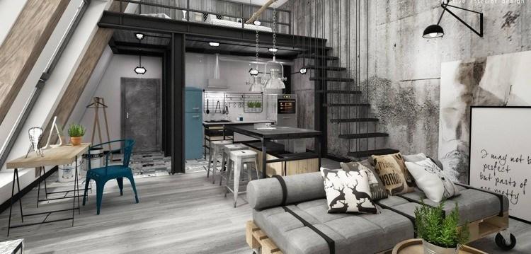 muebles moderno estilo industrial mesa alta acero negro sofa palets ideas