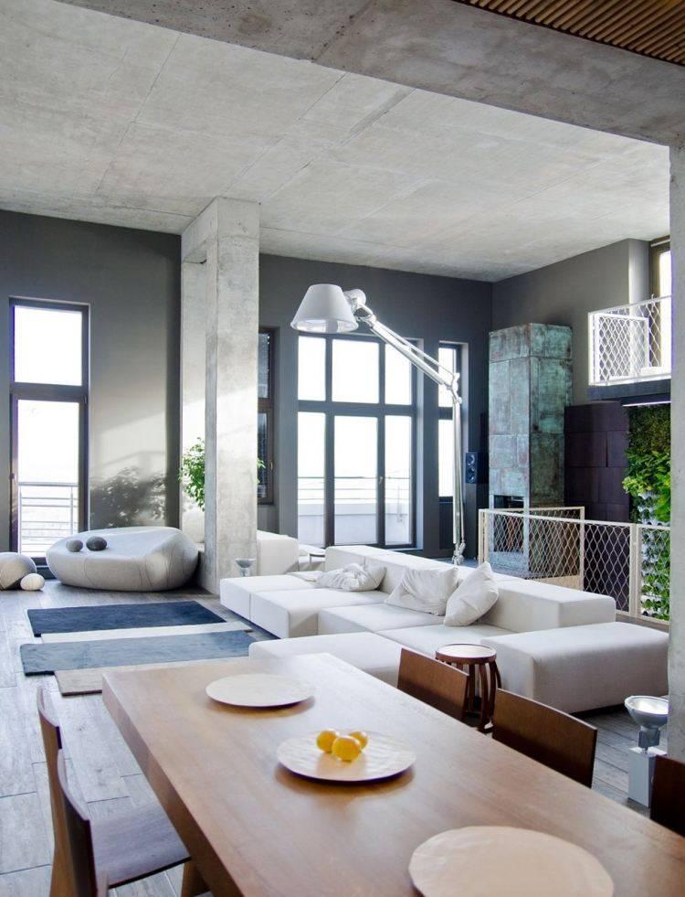 muebles moderno estilo industrial mesa sillas madera sofa blanca ideas