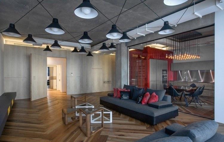 muebles moderno estilo industrial mesitas interesantes forma triangulo ideas