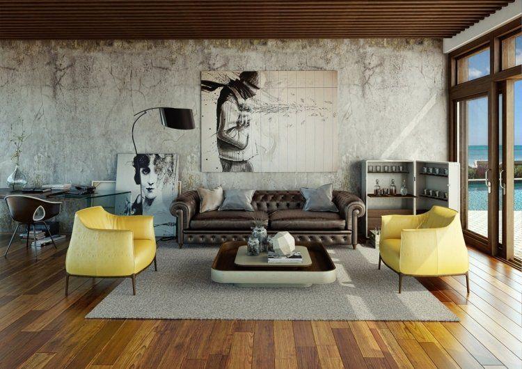Sillu00f3n amarillo moderno en el apartamento al estilo industrial