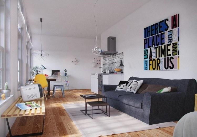 muebles moderno estilo industrial sofa gris televisor antiguo ideas