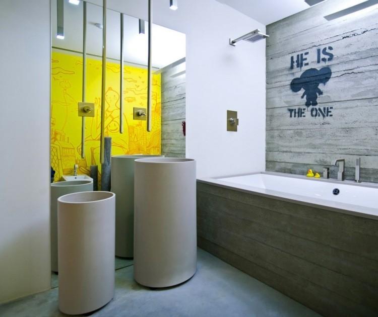muebles modernos estilo industrial banera revestida madera ideas
