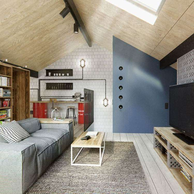 muebles modernos estilo industrial barra sillas altas ideas