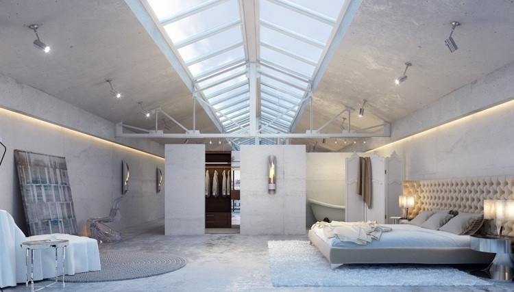 muebles modernos estilo industrial cama madera dormitorio amplio ideas