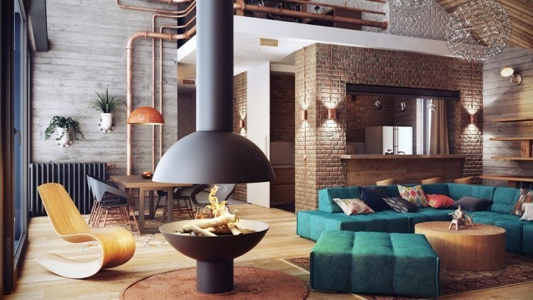 muebles modernos estilo industrial chimenea silla balanceadora ideas