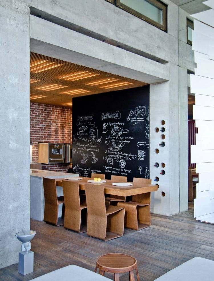 muebles modernos estilo industrial isla hormigon mesa madera ideas