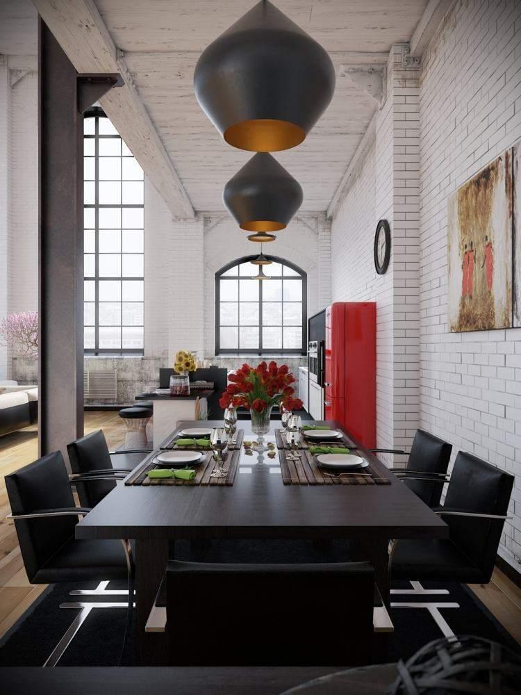 muebles modernos estilo industrial mesa cuero negro sillas ideas
