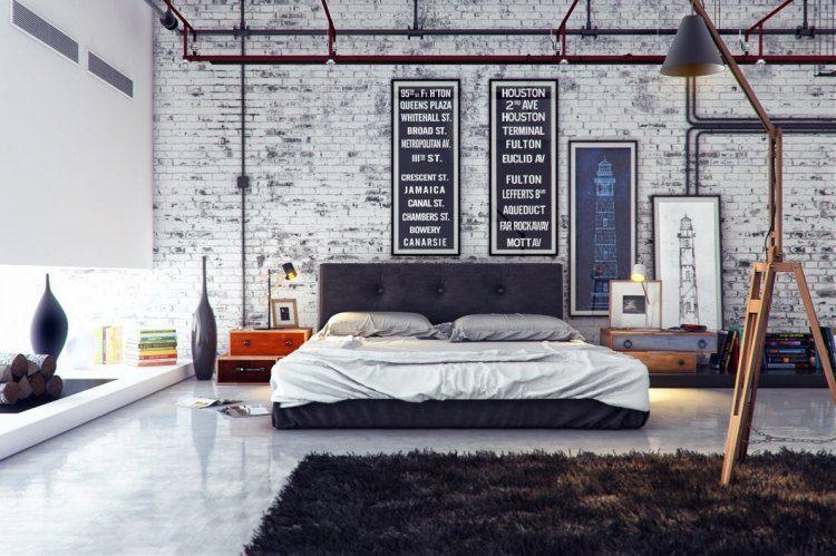 muebles modernos estilo industrial mesitas noche madera ideas