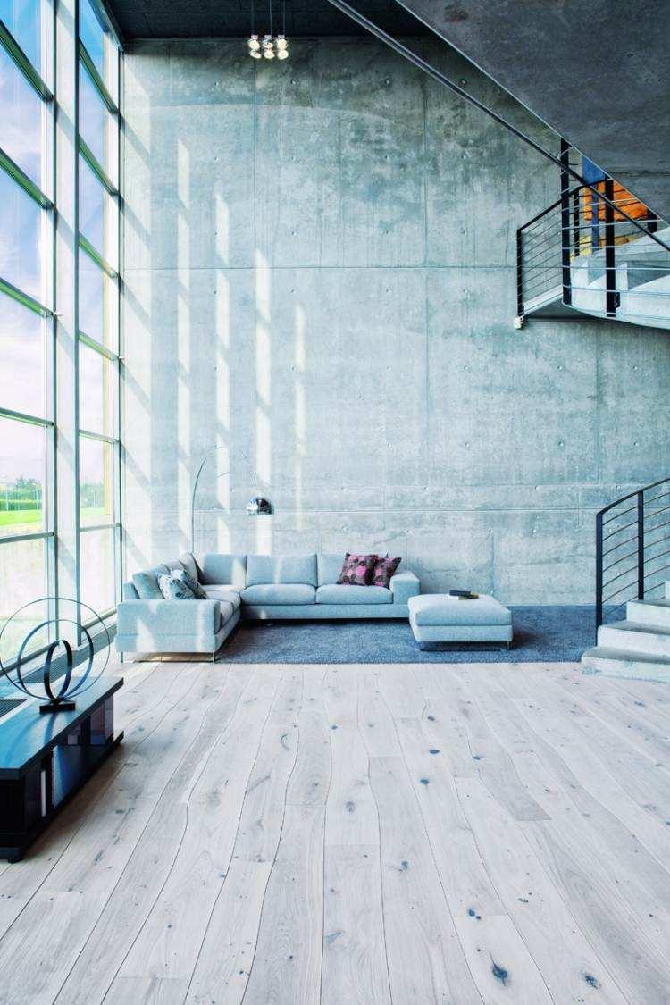 mueble moderno estilo industrial pared hormigon sofa gris ideas
