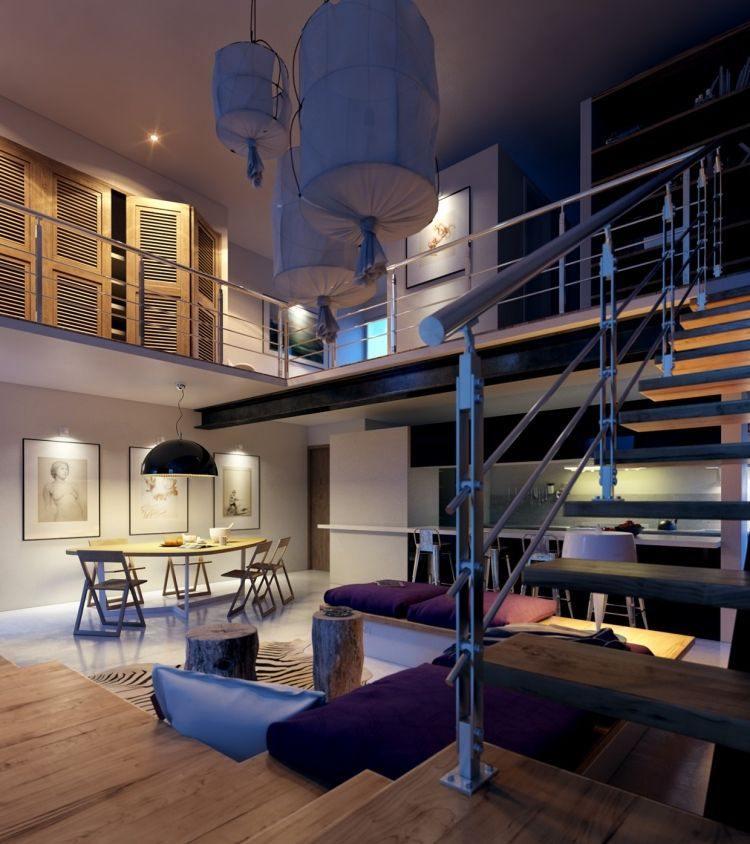 muebles modernos estilo industrial sillas plegables madera comedor ideas