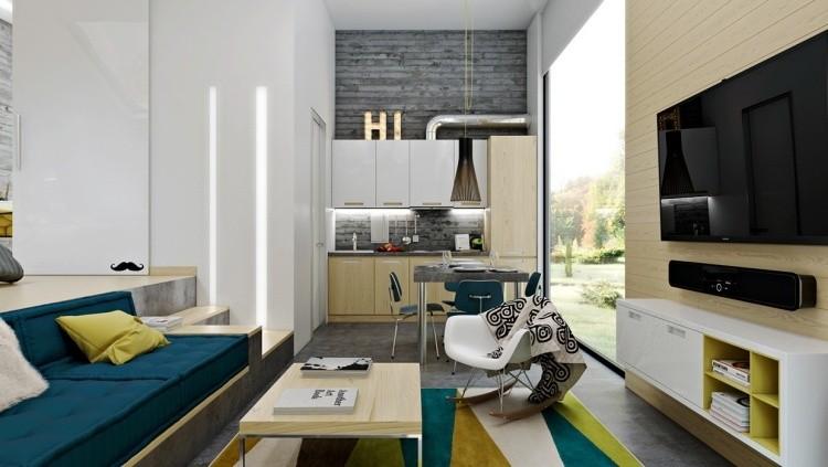 muebles modernos estilo industrial sofa cojines azules ideas