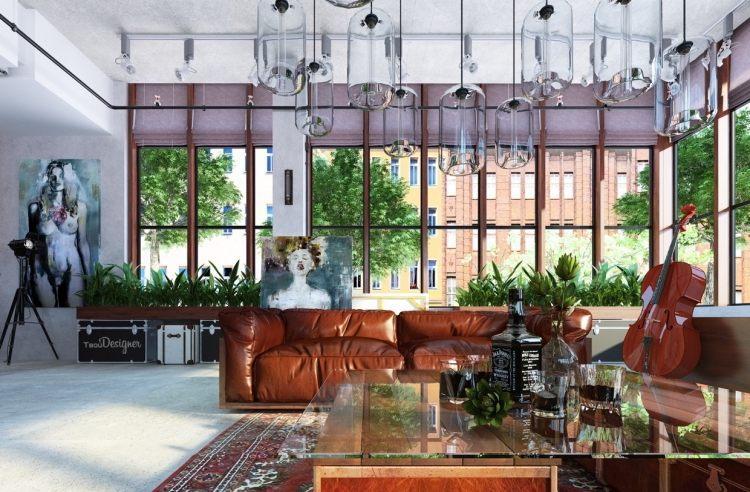 muebles modernos estilo industrial sofa cuero marron ideas