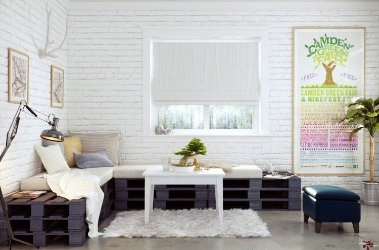 muebles modernos estilo industrial sofa palets ideas