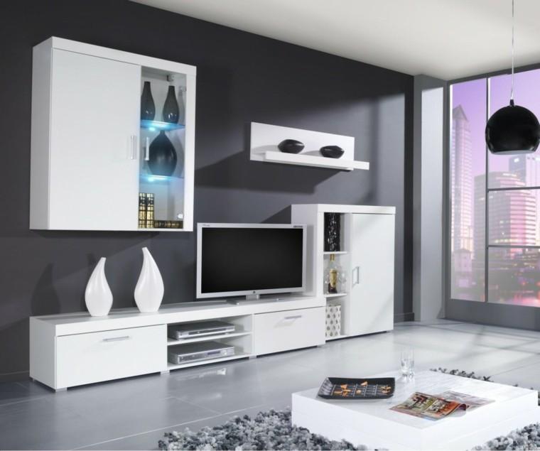 muebles para tv jarrones blancos led