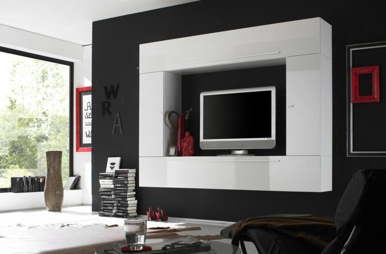 Muebles para tv 50 propuestas creativas y modernas - Colocar piedra en pared ...