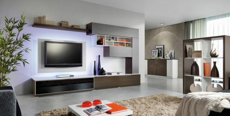 muebles para tv moderno luces naranja