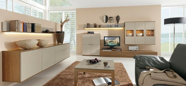 muebles preciosos beige oscuro salon moderno ideas