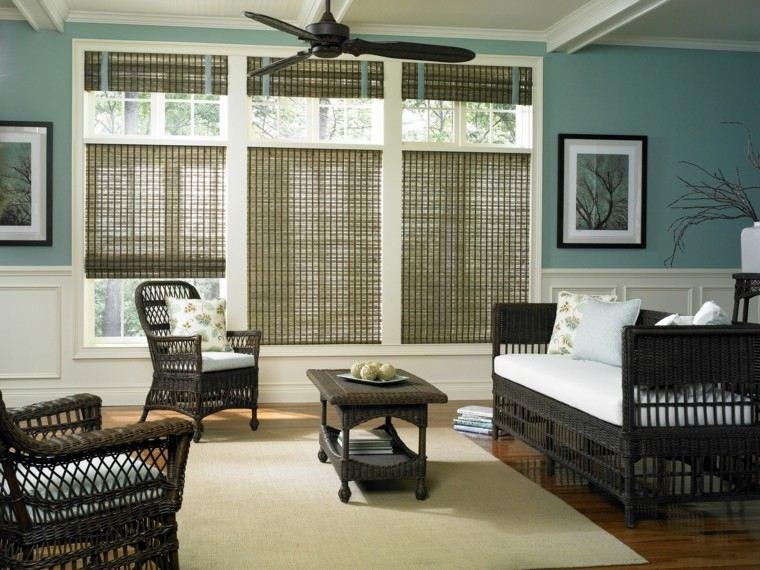 muebles rattan interior salon estores ventanas ideas