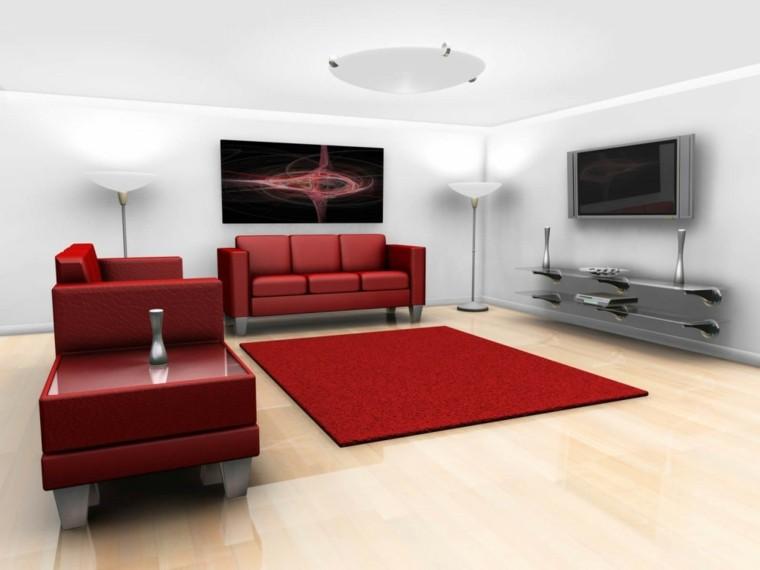 muebles rojos salon estilo moderno