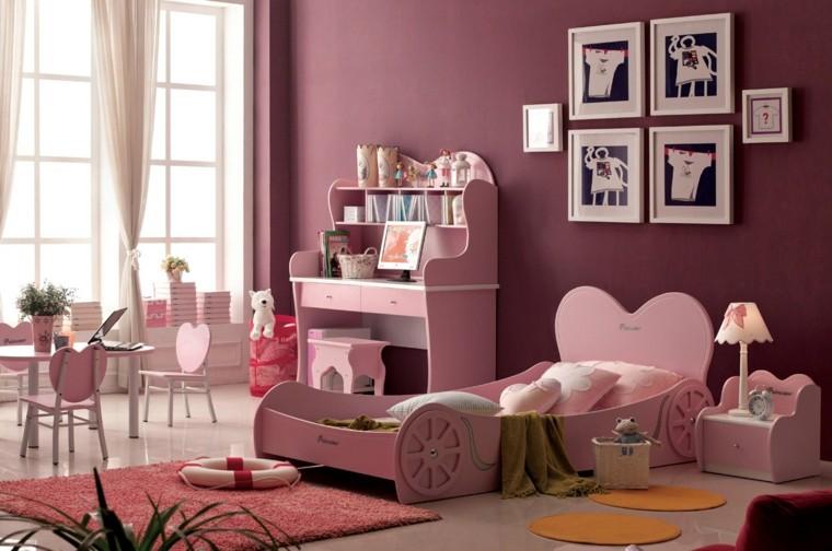 muebles color rosa cama coche