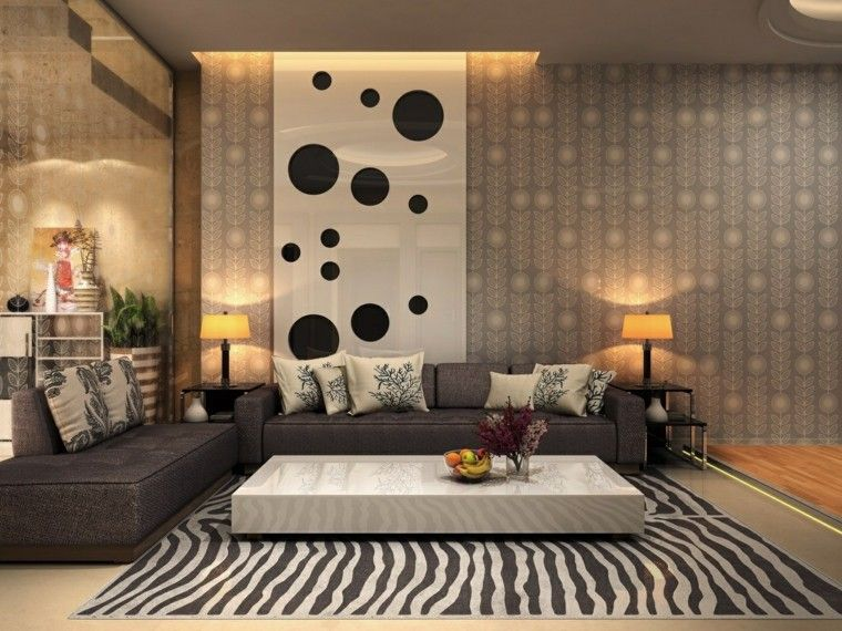 muebles salon moderno alfombra estampa zebra ideas