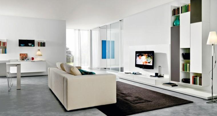 Sofás cómodas y alfombra preciosa en el salón moderno