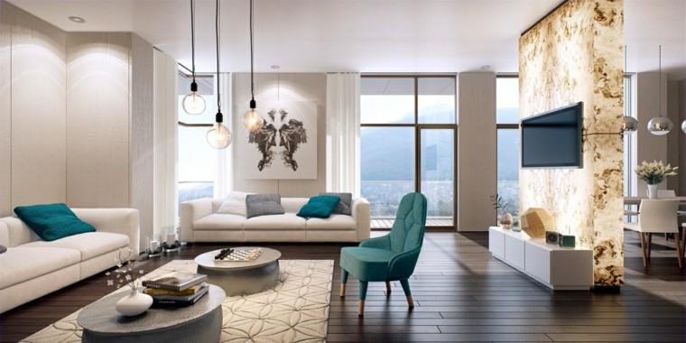 muebles salon moderno silla verde acentos ideas
