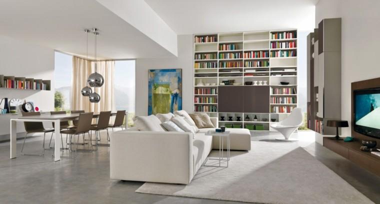 muebles salon moderno sofa blanca estanterias suelo techo ideas