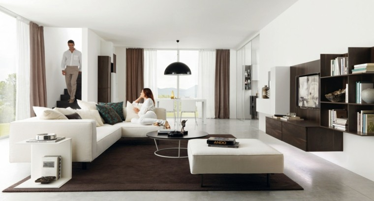 muebles salon moderno sofa taburete blanco grande ideas