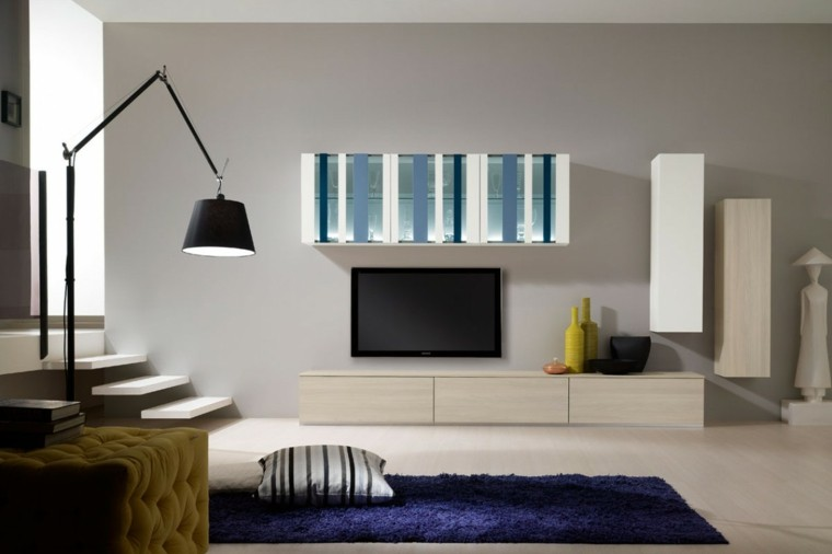 muebles salon moderno taburete amarillo alfombra azul ideas