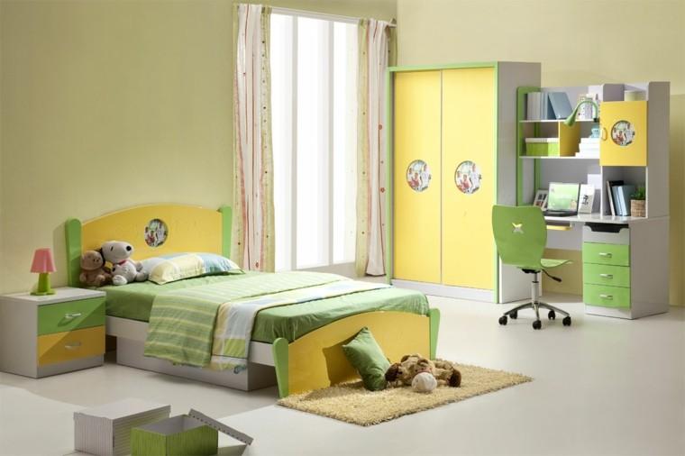 muebles verde conejos amarillo cortinas