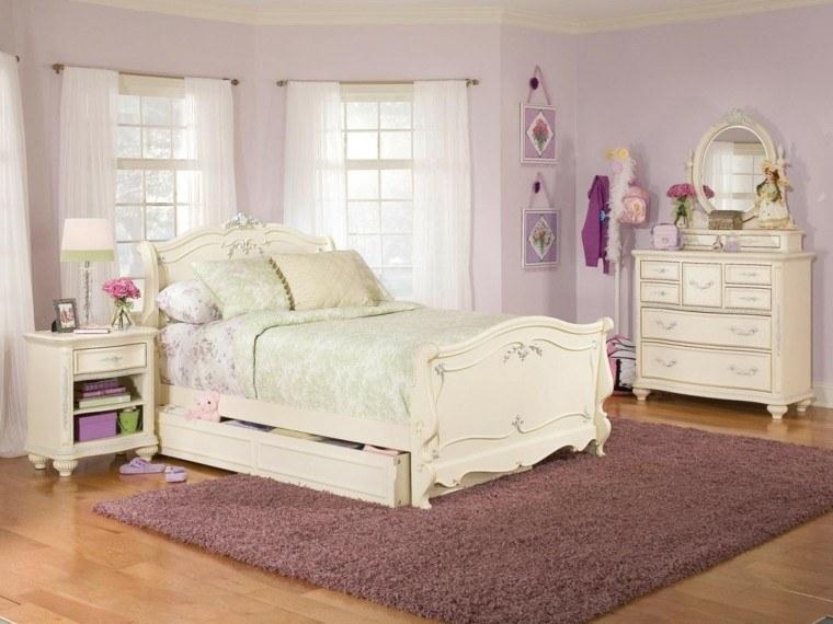decoracion dormitorio vintage muebles estilo vintage pared lavanda
