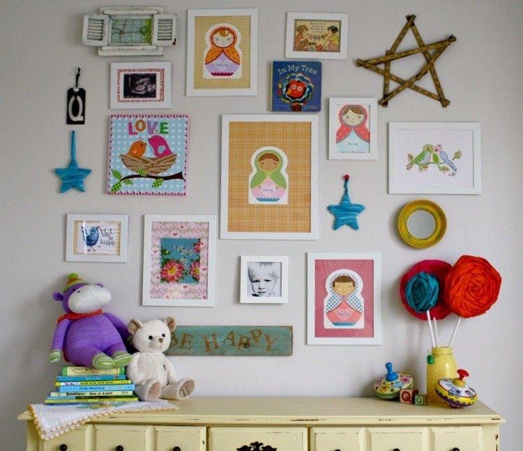 mural cuadros niño casa colorido