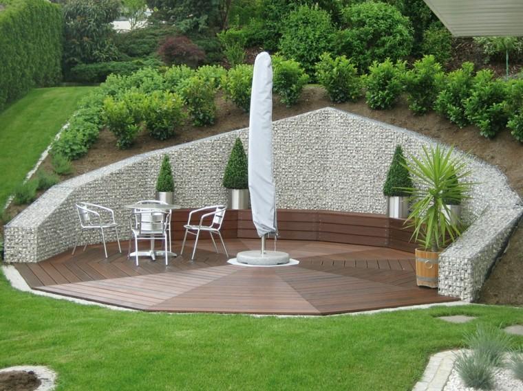 muralla piedra proteger espacio descanso jardin ideas