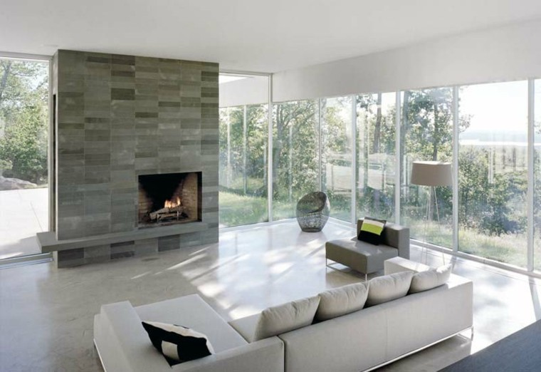 Sala de estar moderna de estilo minimalista 100 ideas - Decoracion de chimeneas modernas ...