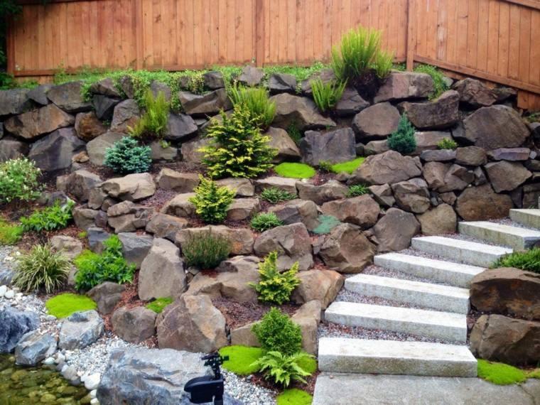 muro madera lago estanque escalones