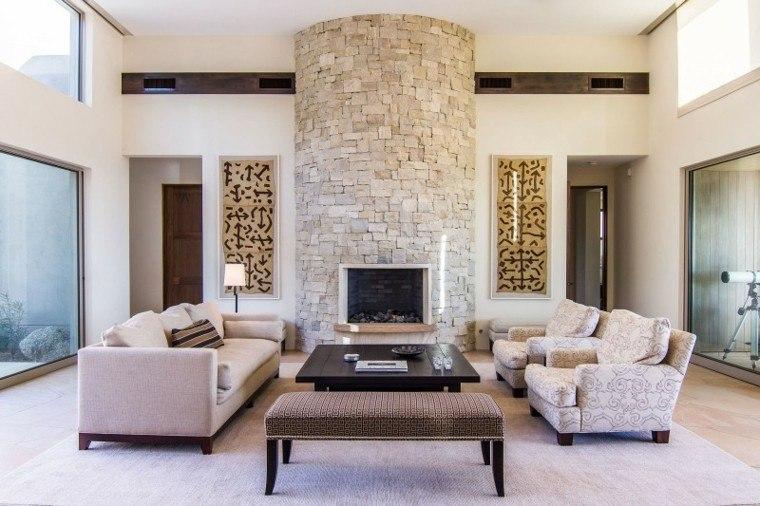 Salones con chimenea cincuenta dise os acogedores - Salones decorados con piedra ...