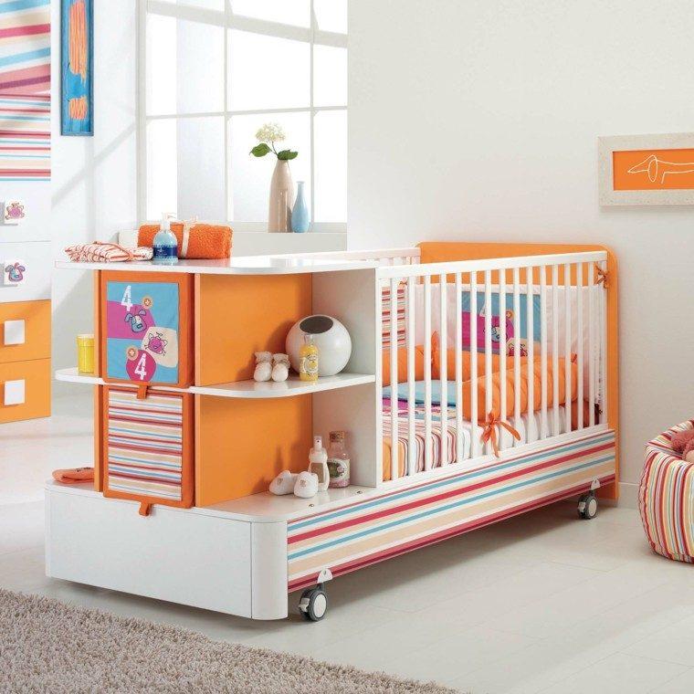 naranja acento diseño rayas niño
