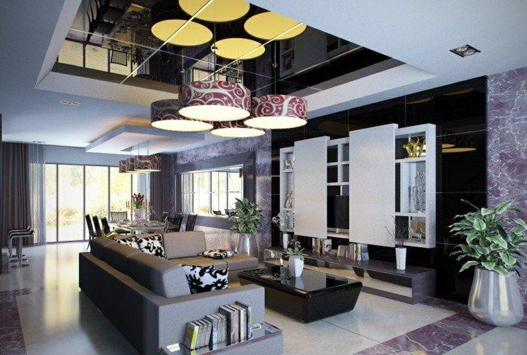 negro blanco purpura pared salon amplio lujoso ideas