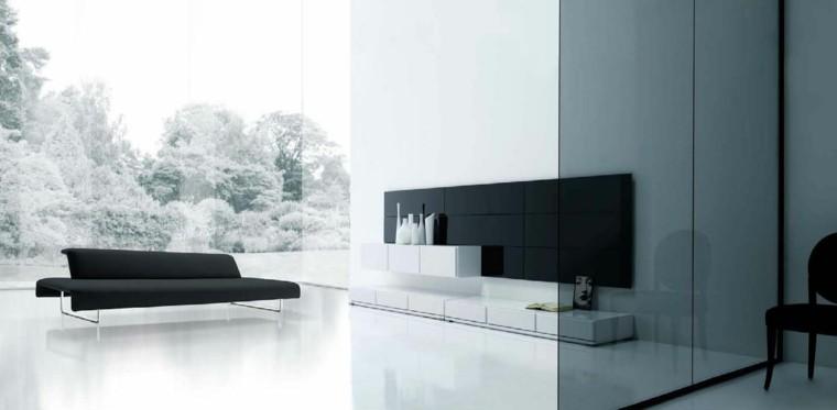 negro sofa largo moderno cristales