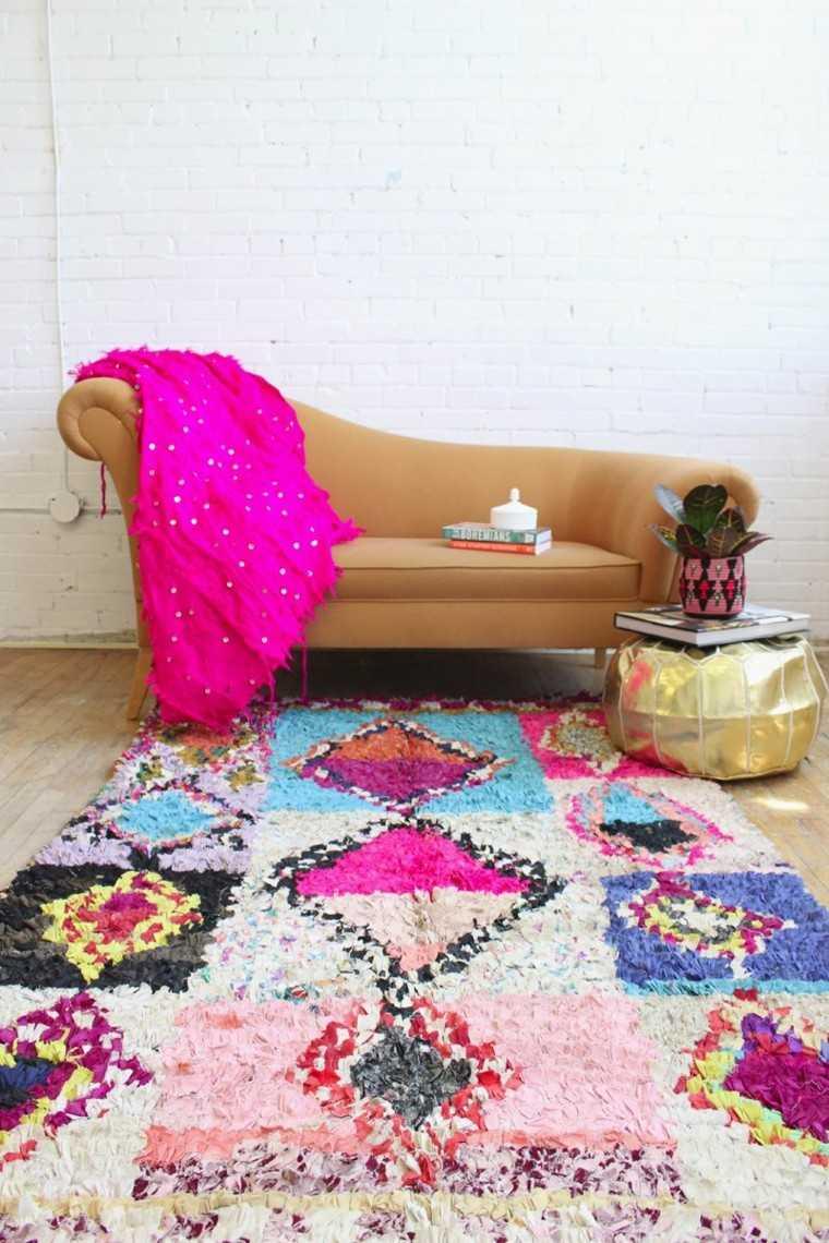 novedades decoracion boho alfombra rosa colores ideas