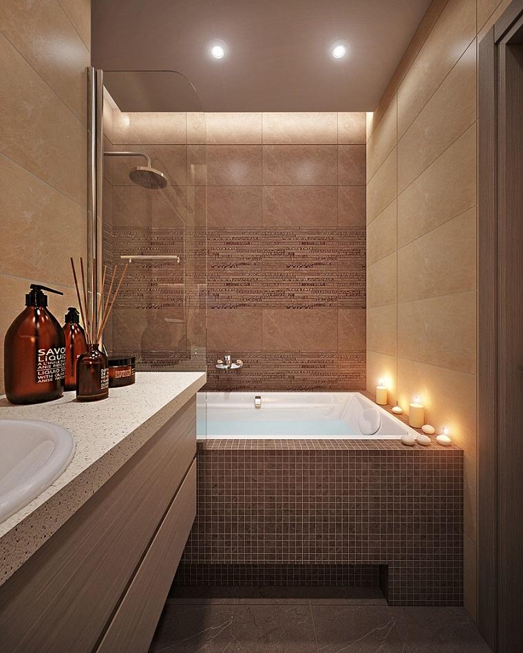 Baos pequeos modernos y elegante color negro diseo duchas for Baneras banos pequenos