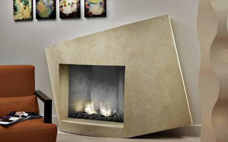 original diseño chimenea piedra moderna